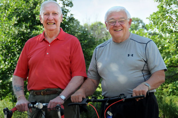 The Oaks at Bartlett | Two happy seniors outdoors